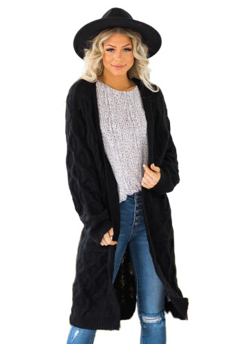 Black Textured Cable Knit Cardigan LC271224-2