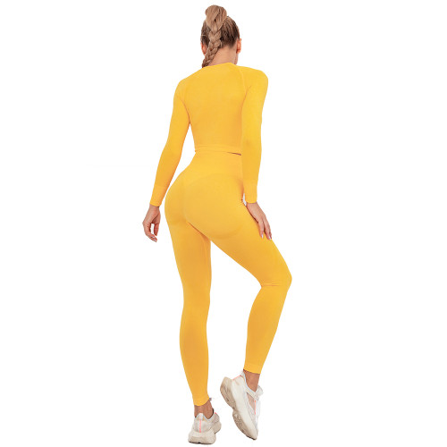 Yellow Seamless Long Sleeve Yoga Sports Set TQE00135-7