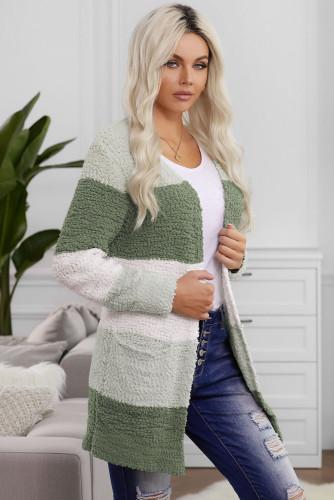 Green Colorblock Popcorn Knit Cardigan LC271169-9
