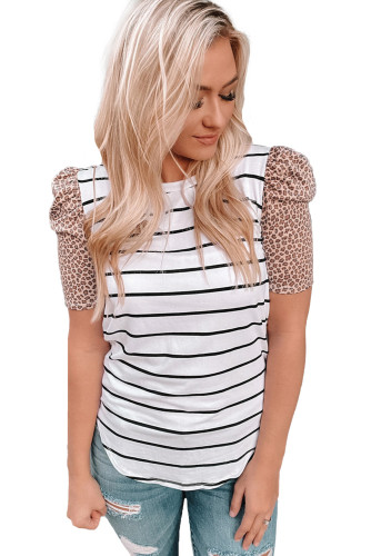 Leopard Ruffle Sleeve Striped T-shirt LC2522367-1