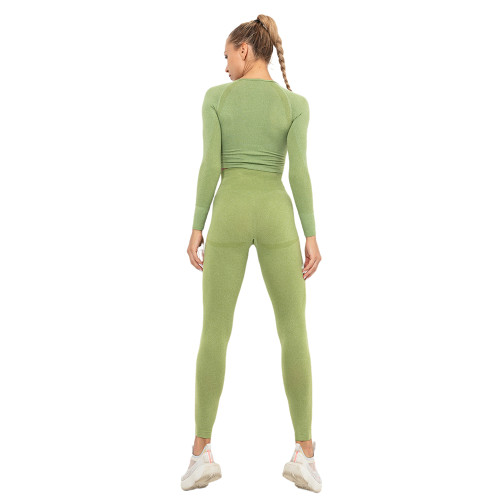 Green Seamless Long Sleeve Yoga Sports Set TQE00135-9