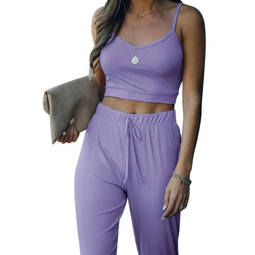 Purple Cami Tank with Drawstring Pant Set TQK710250-8