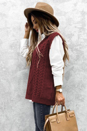 Wine Sleeveless Cable Knitted Sweater Tank LC272967-3