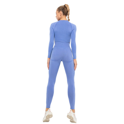 Light Blue Seamless Long Sleeve Yoga Sports Set TQE00135-30