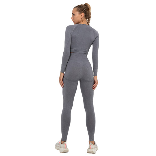Gray Seamless Long Sleeve Yoga Sports Set TQE00135-11