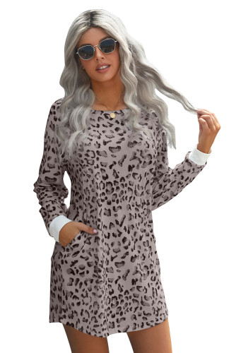 Pink Crew Neck Long Sleeve Leopard Print Mini Dress LC221723-10