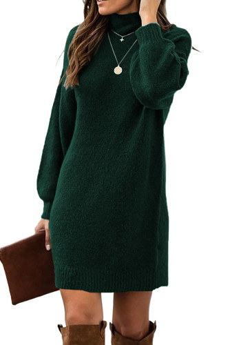 Green Mock Neck Lantern Sleeves Sweater Dress LC273082-9