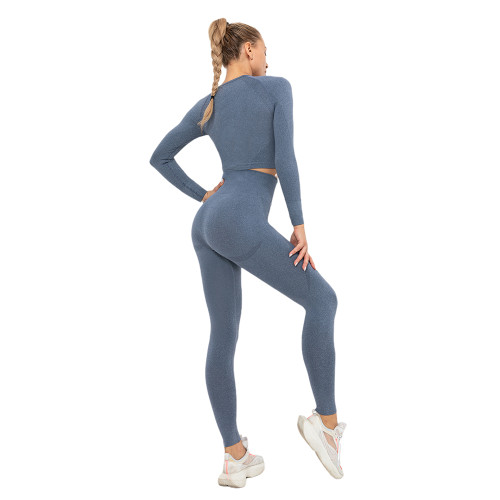 Navy Blue Seamless Long Sleeve Yoga Sports Set TQE00135-34