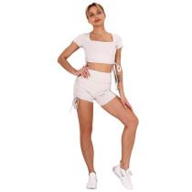 Light Gray Sides Drawstring Short Sleeve Yoga Short Set TQK710241-25