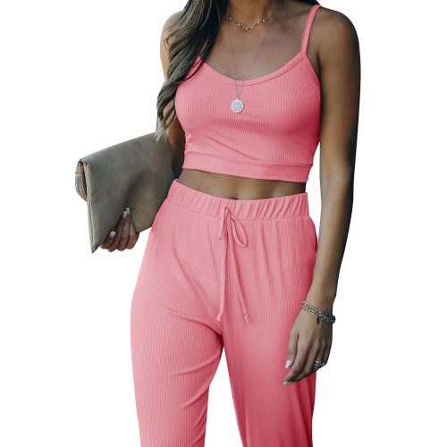 Pink Cami Tank with Drawstring Pant Set TQK710250-10