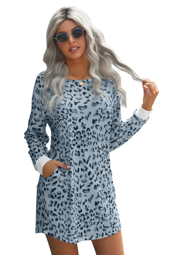 Sky Blue Crew Neck Long Sleeve Leopard Print Mini Dress LC221723-4