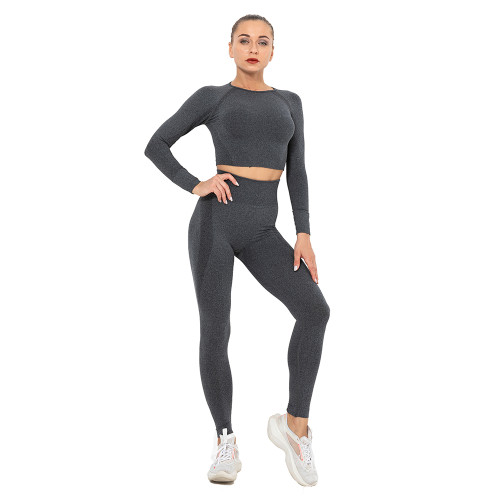 Black Seamless Long Sleeve Yoga Sports Set TQE00135-2