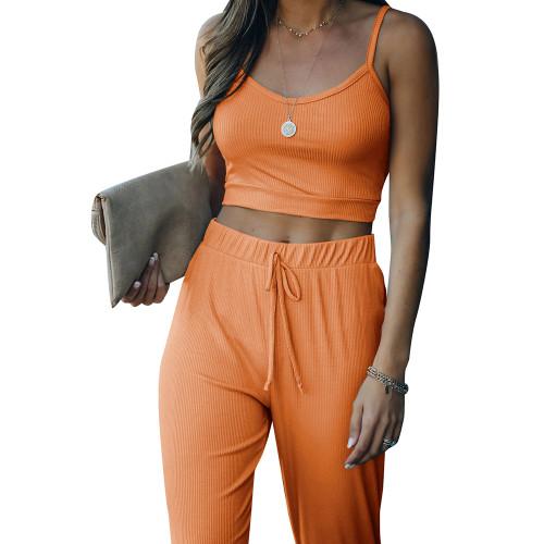 Orange Cami Tank with Drawstring Pant Set TQK710250-14