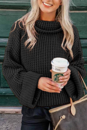 Black Turtleneck Knitted Sweater LC272659-2
