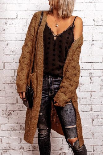 Brown Textured Cable Knit Cardigan LC271224-17