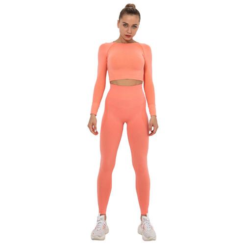 Rustic Coral Seamless Long Sleeve Yoga Sports Set TQE00135-84