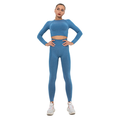 Ink Blue Seamless Long Sleeve Yoga Sports Set TQE00135-81