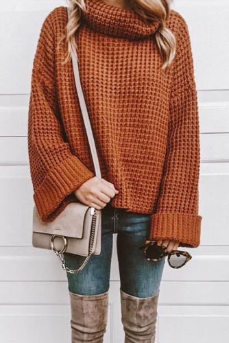 Orange Turtleneck Knitted Sweater LC272659-14