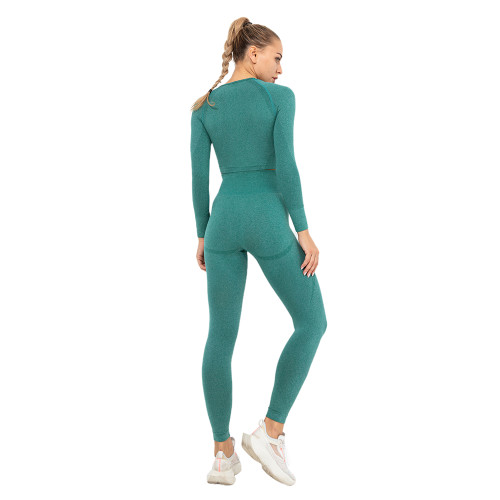 Dark Green Seamless Long Sleeve Yoga Sports Set TQE00135-36
