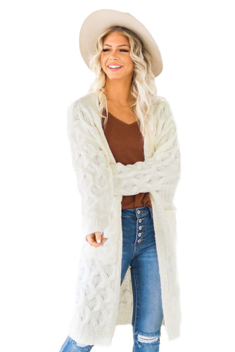 White Textured Cable Knit Cardigan LC271224-1