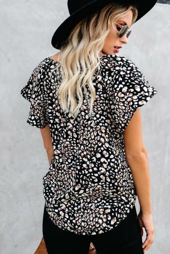 Black V-neck Short Sleeve Fashion Print Fantasy Fluttering Blouse LC2514201-2