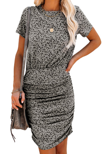 Leopard Short Sleeve Ruched Bodycon Mini Dress LC223726-20