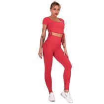 Red Sides Drawstring Short Sleeve Yoga Pant Set TQK710243-3