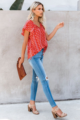 Red V-neck Short Sleeve Fashion Print Fantasy Fluttering Blouse LC2514201-3