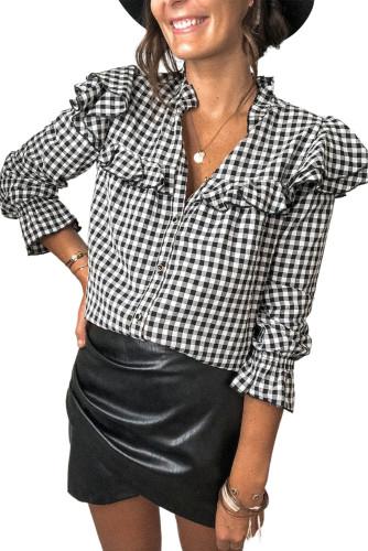Black Plaid Button Ruffle Shirt LC255279-2