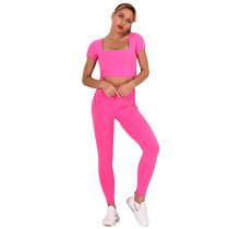 Rosy Sides Drawstring Short Sleeve Yoga Pant Set TQK710243-6