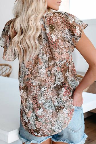 Khaki V-neck Short Sleeve Fashion Print Fantasy Fluttering Blouse LC2514201-16