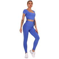 Blue Sides Drawstring Short Sleeve Yoga Pant Set TQK710243-5