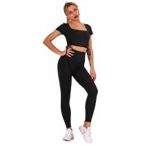 Black Sides Drawstring Short Sleeve Yoga Pant Set TQK710243-2