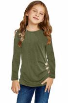 Green Little Girls Long Sleeve Buttoned Side Top TZ25122-9