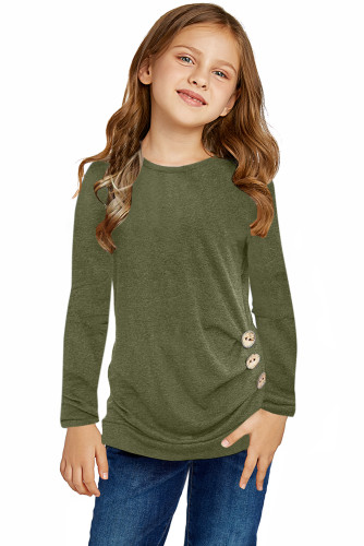 Green Little Girls Long Sleeve Buttoned Side Top TZ25122-9