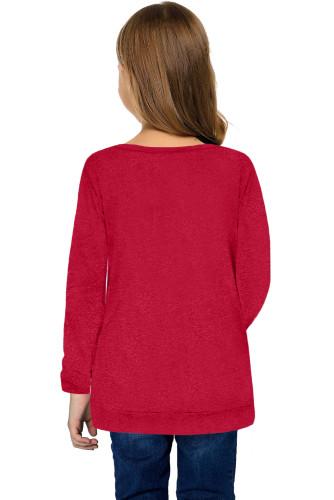 Red Little Girls Long Sleeve Buttoned Side Top TZ25122-3
