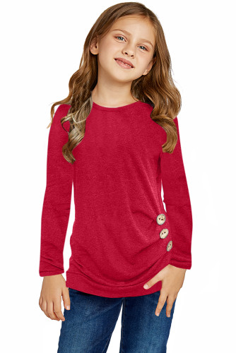 Red Little Girls Long Sleeve Buttoned Side Top TZ25122-3