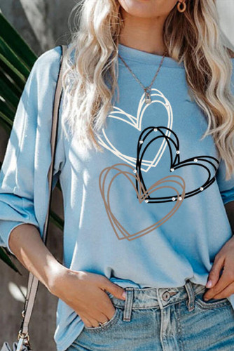 Heart Print Blue Pullover Long Sleeve Top LC2514771-4