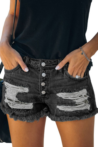 Black Gypsy Mid-rise Distressed Denim Shorts LC78858-2