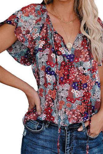 Blue V-neck Short Sleeve Fashion Print Fantasy Fluttering Blouse LC2514201-5