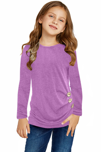 Purple Little Girls Long Sleeve Buttoned Side Top TZ25122-8