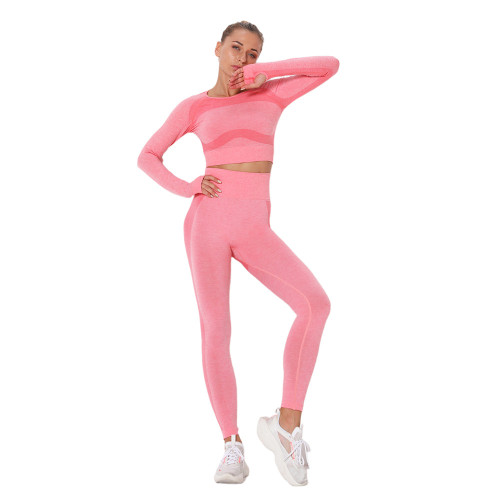 Peach Hollow Out Back Long Sleeve Yoga Set TQE00139-104