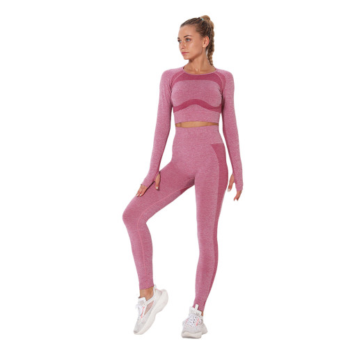Wine Red Hollow Out Back Long Sleeve Yoga Set TQE00139-103
