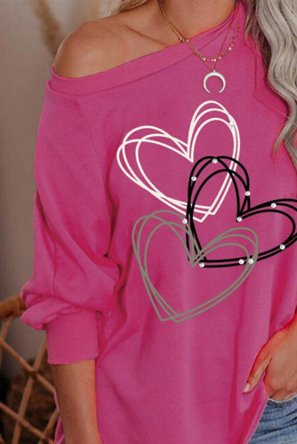 Heart Print Pullover Long Sleeve Top LC2514771-10
