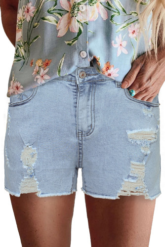 Sky Blue High Rise Destroyed Denim Shorts LC78839-4