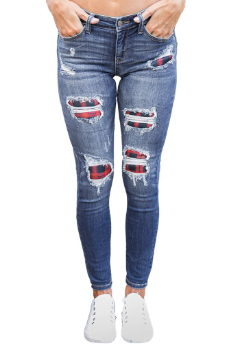 Medium Wash Distressed Plaid Skinny Jeans LC78768-5