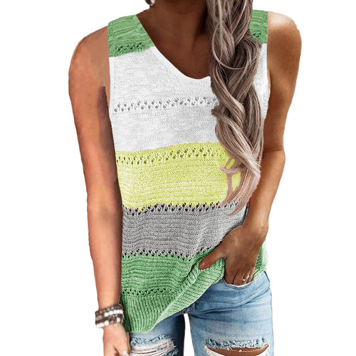 Light Green Multicolor Block Knitted Tank Top TQK250103-28
