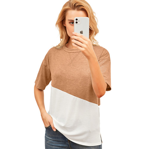 Khaki Color White Loose Style Casual Tops TQK210616-21