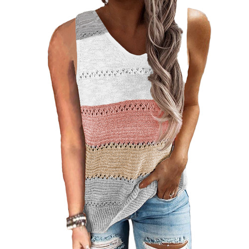Gray Multicolor Block Knitted Tank Top TQK250103-11