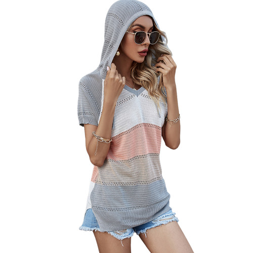 Gray Multicolor Block Drawstring Knitted Sweater TQK271219-11
